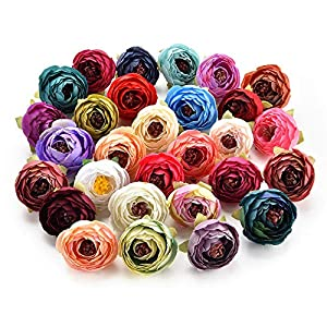 Artificial Flower Silk Artificial Rose Bud Flowers Head Wedding Decoration DIY Wreath Gift Box Scrapbooking Craft Fake Flowers 30PCS 4CM (Multicolor) 80