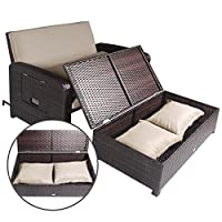 Cloud Mountain 2 Piece Rattan Wicker Love Seat Sofa Daybed Set Outdoor Patio Love Seat with Ottoman Chaise Lounge Chair