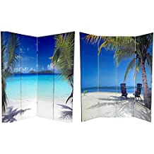 Oriental Furniture Tropcial Island Outdoor Photography, 6-Feet Ocean Beach Photo Print Room Divider, 4 Panel