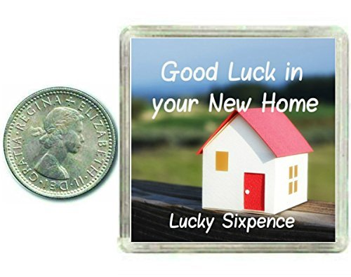 New Home Lucky Silver Sixpence. Good luck charm gift for moving house. Includes presentation keepsake box, great present idea for friends, relatives