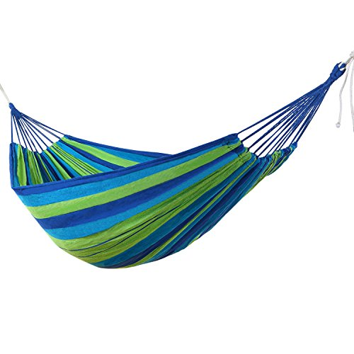 WolfWise Outdoor Leisure Double 2 Person Cotton Hammocks 450lbs Ultralight Camping Hammock Blue