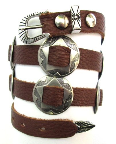 Drifter Leather Hat - Western Hatband Hat Band Brown Leather 10 Antiqued Conchos New