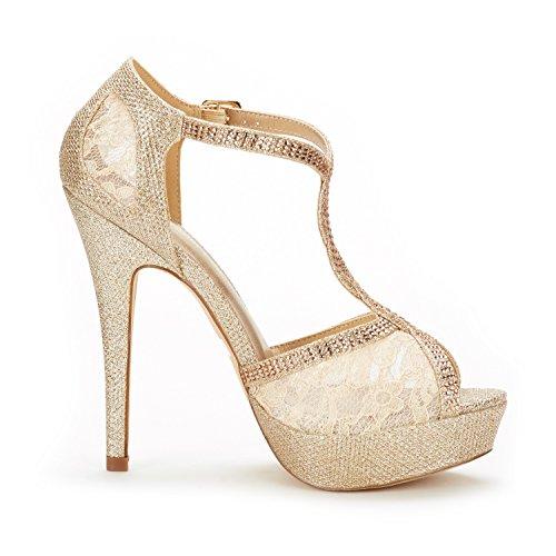 Women's High Stilettos 16 Fashion Peep Heel Pump Swan Pairs Gold Sandals Toe Dream Heeled Bn0wgxqI5t