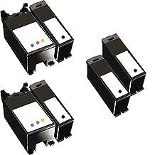6 Inkfirst® Ink Cartridges Series 21 22 23 24 Y498D, Y499D Compatible Remanufactured for Dell Y498D Black, Y499D Color (2 Set + 2 Black) Dell V715W P713W V313 V313W V515 P513W