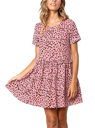M MEIION Women's Summer Sleeveless Polka Dot Ruffle Hem Swing Dress with Pockets Black (L, (B) Pink) ()