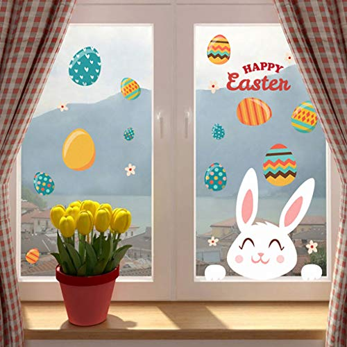 Gotian -- Happy Easter Wall Sticker PVC Self-Adhesive Wall Sticker Can Be Removed- Resurrection Sunday Holiday Cute Home Living Room Bedroom Apartment Office Work Nursery Decor (1 PCRabbit Egg Wall) -