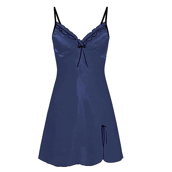 VJGOAL Vestido de Noche para Mujer Talla Grande Encaje de Encaje Color sólido Lencería Babydoll Tentación