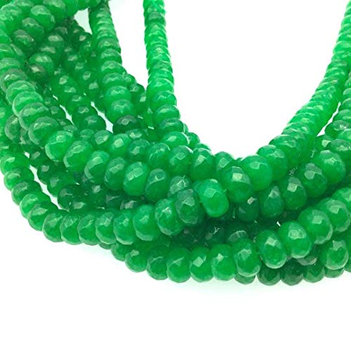 - 5mm x 8mm Faceted Dyed Bright Green Natural Jade Rondelle Shaped Beads with 1mm Holes - Sold by 16