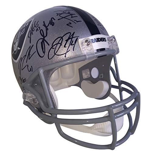- 2018 Oakland Raiders Team Autographed Hand Signed Riddell Full Size Football Helmet with 33 Signatures Total and Proof Photos of Signing and COA, Derek Carr, Martavis Bryant, Jared Cook, Doug Martin