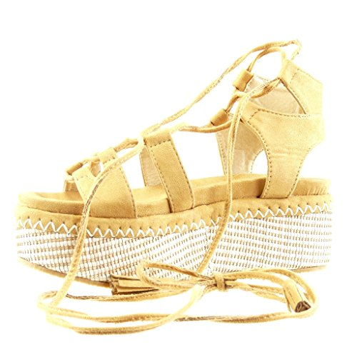 6 Plateforme Camel Plateforme Pom Chaussure Mule Femme Compensé cm Frange Sandale Angkorly Lacets 5 Mode Pom Talon fHpBwqxnO