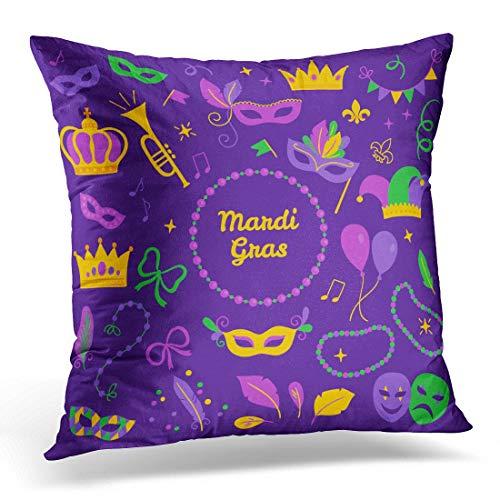 (menghui Throw Pillow Covers Mardi Gras Carnival Mask Trumpet Crown Ribbon Feathers Confetti Comedy and Tragedy Fleur De Lis Notes Decorative Pillow Case Home Decor Square 18W X 18L)