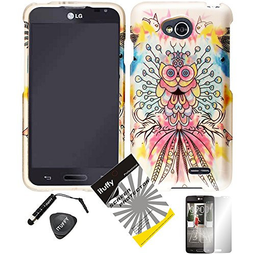 - 4 items Combo: ITUFFY (TM) LCD Screen Protector Film + Mini Stylus Pen + Case Opener + Pink Yellow Purple Blue Colorful Peacock Owl Design Rubberized Snap on Hard Shell Cover Faceplate Skin Phone Case for Android Smart Phone LG Optimus L90 / LG D415 (T-Mobile) (Peacock Owl)