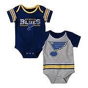 NHL St. Louis Blues Children Unisex  Definitive  2Piece Onesie Set, 12 Months, Heather Grey