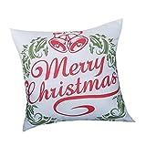 PgojuniMerry Christmas Print Pillowcase Linen Cotton Throw Pillow Case Square Pillow Cover Home Decor Cushion Cover 1pc (B)