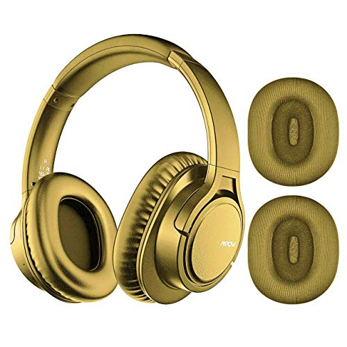 Mpow H7 Plus Bluetooth Headphone, Bass Sound aptX CD-Like Audio, Stereo Wireless Headphone with Microphone, Replaceable Earmuffs, Wired and Wireless Playback for Cellphone/Tablet/PC