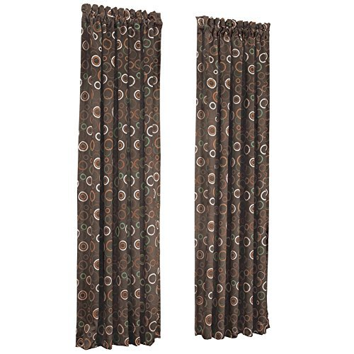 (Geometric Circle Pattern Rod Pocket Insulated Room Darkening Thermal Black Out Window Curtain Panel, Chocolate, 54