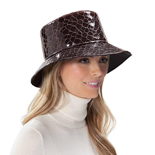 Eric Javits Luxury Fashion Designer Women's Headwear Hat - Croc Rain - Walnut by Eric Javits