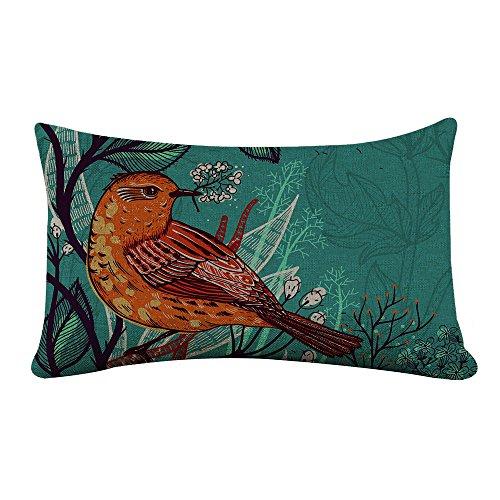 StarflowsS Rectangle Pillowcase Cover Flower Bird Autumn Pattern Lumbar Pillow Covers Cases 14x24 Inches