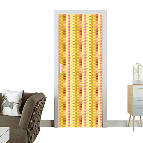(Door Sticker Wall Decals Strip Mix Patchwork Style Motif Baby Play Yellow Marigold Pink Easy to Peel and StickW32 x H80 INCH)