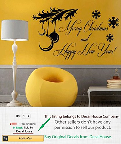 Amazon.com: Merry Christmas Wall Decals Holiday Vinyl Decal Sticker ...