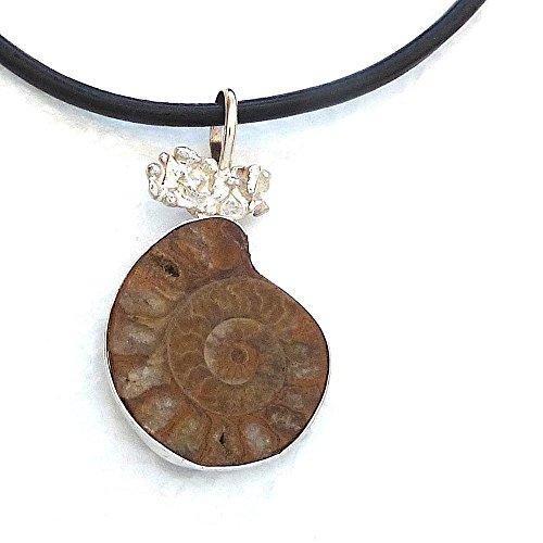 Ammonite Fossil Sterling Silver Pendant (Ammonite Fossil and Molten Solid Sterling Silver Pendant on a Black Leather Cord with Spring-Ring Clasps)