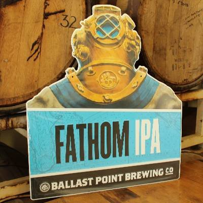 Ballast Point Brewery - Extra Large Embossed Die Cut Fathom IPA Tin Sign/Tacker - 20