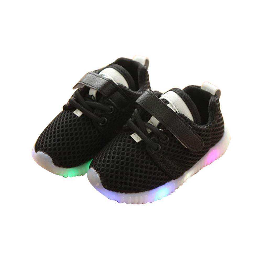edv0d2v266 Children Boys Girls Kids LED Light up Sneakers Baby Toddler Running Shoes(Black 26/9MUSToddler)