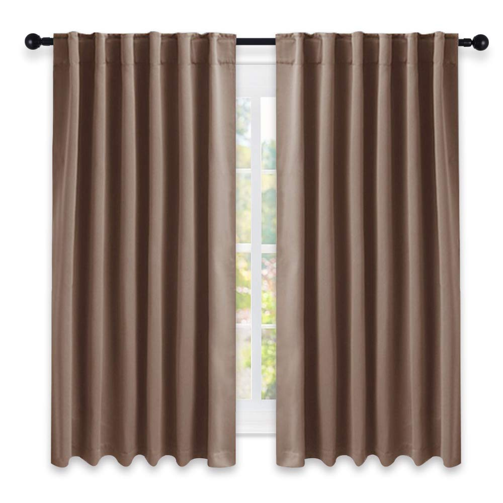 NICETOWN Blackout Curtains and Drapes for Kitchen - (Cappuccino Color) 52 inch Wide by 63 inch Long, Two Panels Set, Thermal Insulated Blackout Window Drapes
