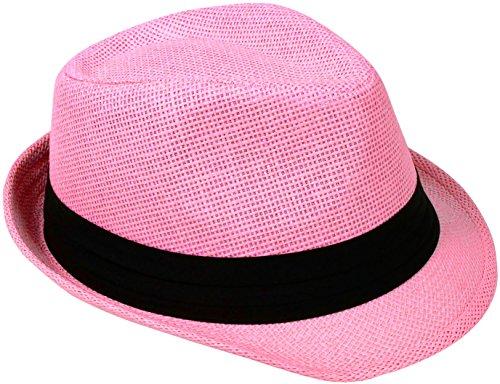 Verabella Fedora Hat Women/Men's Summer Short Brim Straw Sun -