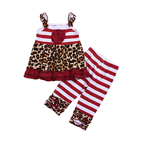 Toddler Baby Girl Leopard Halter Red Stripe Ruffle Tops + Legging Pants 2 Pcs Outfit Clothes Set (Red, 120(4-5 T))