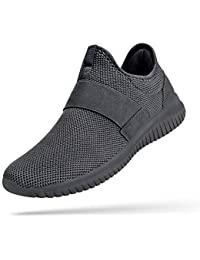 Mens Sneakers Slip on Mens Laceless Tennis Shoes Knitted Breathable Running Walking Athletic Shoes