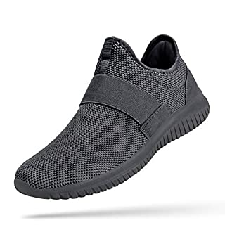 Troadlop Mens Non Slip Shoes Comfortable Running Walking Gym Shoes Male Laceless Sneakers Mesh Breathable Athletic Shoes 9.5 M US Dark Grey