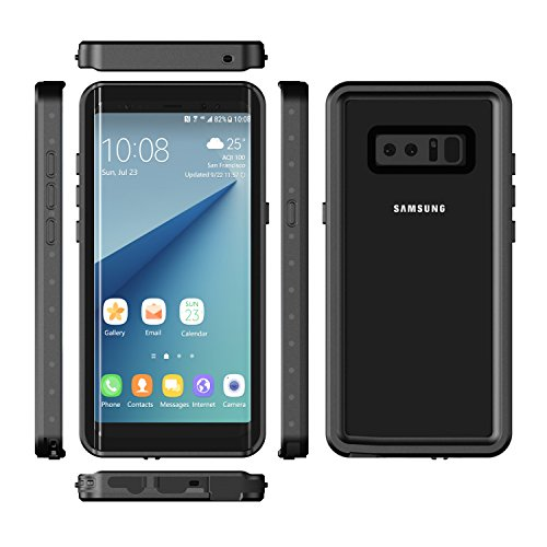 Samsung Galaxy Note 8 Waterproof Case YMCCOOL Full Body Protective Clear Case Shockproof/Dirtproof/Snowproof IP68 Certified with Built in Screen Protector for Galaxy Note 8 Black