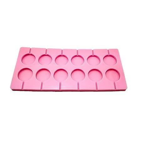 BESTONZON 12-Capacidad silicona Lollipop Moldes caramelo duro chocolate con 12 cuentas Lollypop Sucker palos