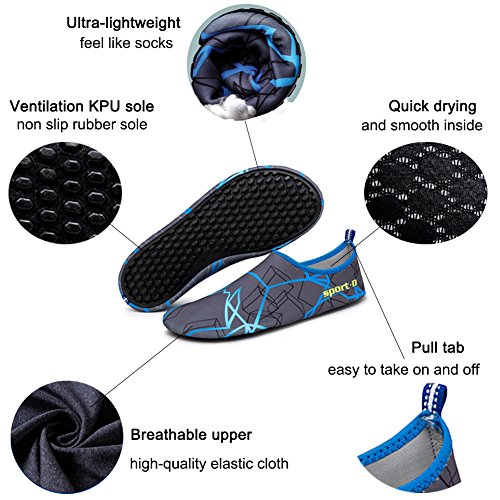 Oberm Damen Herren Wasser Schuhe schnell trocknend Barfuß Schuhe Aqua Socken für Beach Swimming Pool Yoga rot