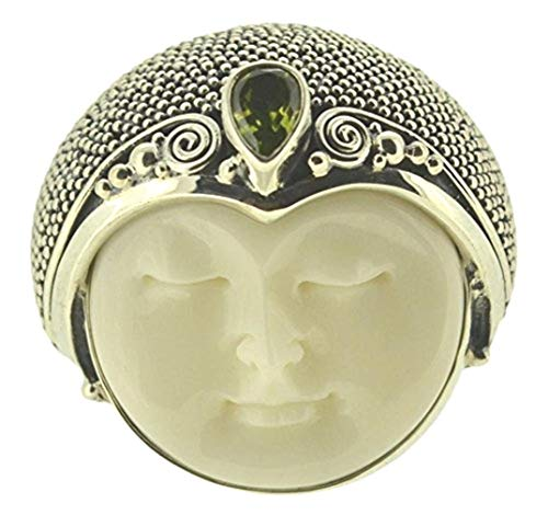 US Size 9 Moon Face Peridot 925 Sterling Silver Ring