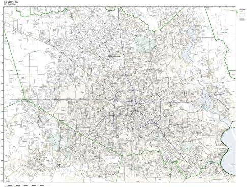 Working Maps Zip Code Wall Map of Houston, TX Zip Code Map Not Laminated