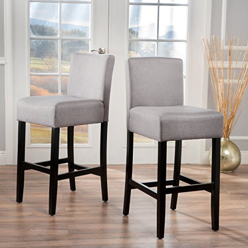 Christopher Knight Home 299531 Lopez Light Grey Fabric Barstools (Set of 2)