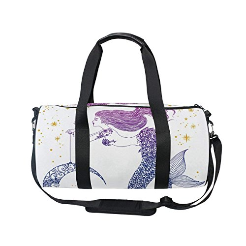 OuLian Duffel Bags Mermaid Star Moon Womens Gym Yoga Bag Small Fun Sports Bag for Men - Saddle Travel Zip Wallet