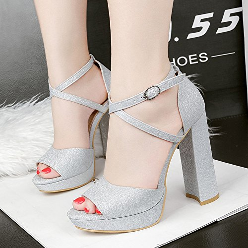 Toe Buckled High Silver Heel Sequined Strap Platform Block Shoes Club Sexy Sandals Aisun Cross Peep Women's twfvzAqA