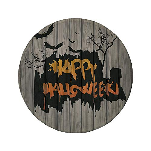 (Non-Slip Rubber Round Mouse Pad,Halloween Decorations,Happy Graffiti Style Lettering on Rustic Wooden Fence Scary Evil)