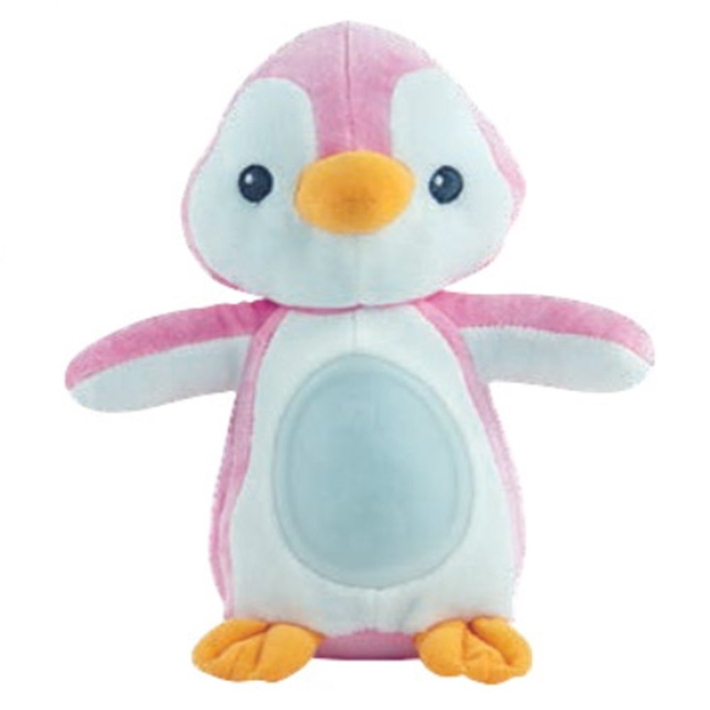 Winfun Baby Sleep Aid Night Light and Melodies Soother Penguin Doll 7'' Tall (Pink)