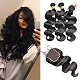 GEM Beauty Brazilian Body Wave Hair With Lace Closure Brazilian Virgin Hair 3 Bundles With A Closure Body Wave Remy Human Hair 1B Color 10 with 12 14 16 inch