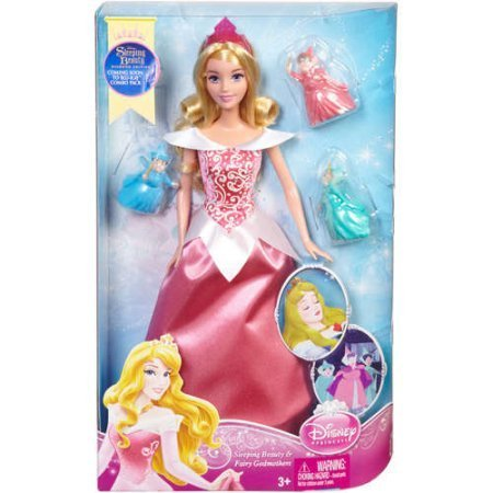 - Disney Princess Sleeping Beauty Aurora 12-inch Tall Doll and Fairy Godmothers Flora, Fauna, and Merryweather 2-inch Mini Figures Collectible Toy Set (BGR97)