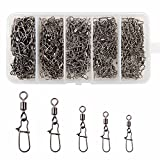 #2: Shaddock Fishing 210pieces/box Fishing Swivel Snap Connectors Size 2 4 5 6 8 High-strength Fishing Rolling Swivels with Nice Snaps Fishing Tackle Kit (100% Copper+Stainless Steel)