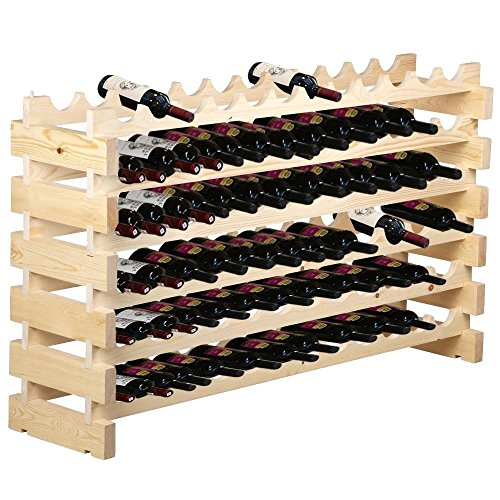 F2C 6 Tier Wood Wine Rack 72 Bottles Wooden Wine Holder Stackable Storage Solid Display Shelves (72 Bottles)