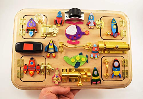 Busy board Travel busy board Latch board Sensory board Rocket toy Baby gifts Waldorf toys Montessori toys Toddler toy Adult toys Toy for boy ()