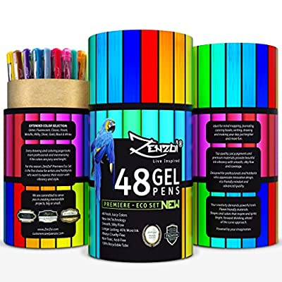 Gel Pens 48 Ink Colors Pen Set with Case - Perfect for Adult Coloring Books Sketching Drawing Painting Writing - FREE Extra Gift (Ebook), Best Large Color Selection Glitter Metallic Classic Neon Milky from ZenZoi