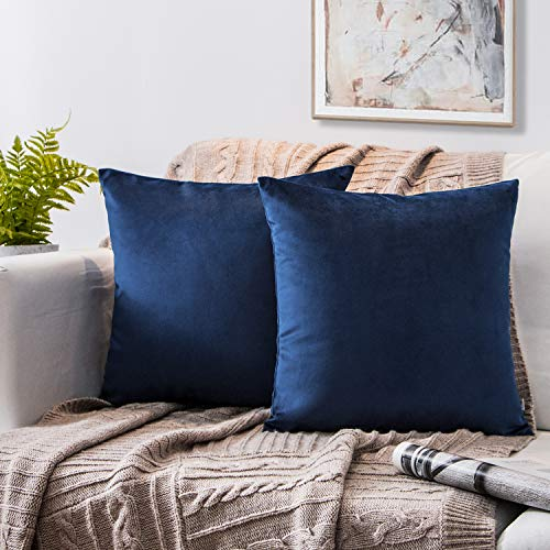 Phantoscope Set of 2 Soft Cozy Velvet Throw Pillow Solid Square Cushion Cover Navy Blue 18 x 18 inches 45 x 45 cm