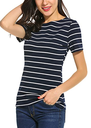 SimpleFun Women Casual Shirts For Work Loose Tees T Shirt Juniors (S=US 2, Navy Blue)